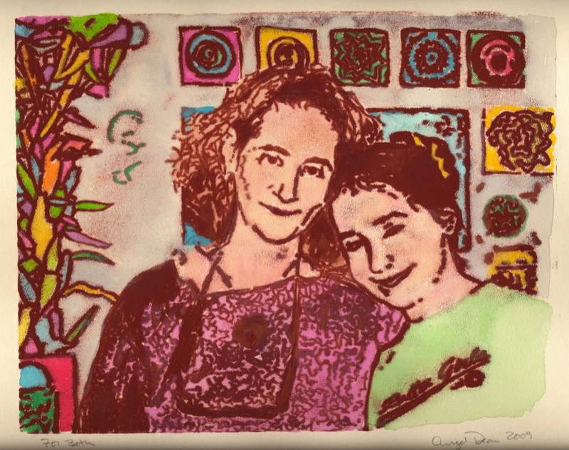 Beth and Izzy, monotype with watercolor