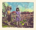 Farm Girls, monotype with watercolor