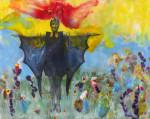 Little Miss Icarus, 11x14, encaustic
