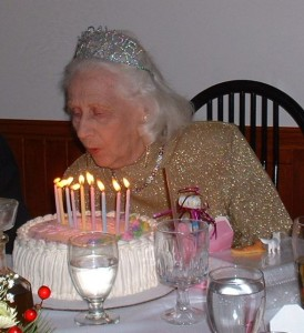 Phyllis on her 80th birthday.