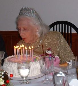 Phyllis on her 80th birthday.