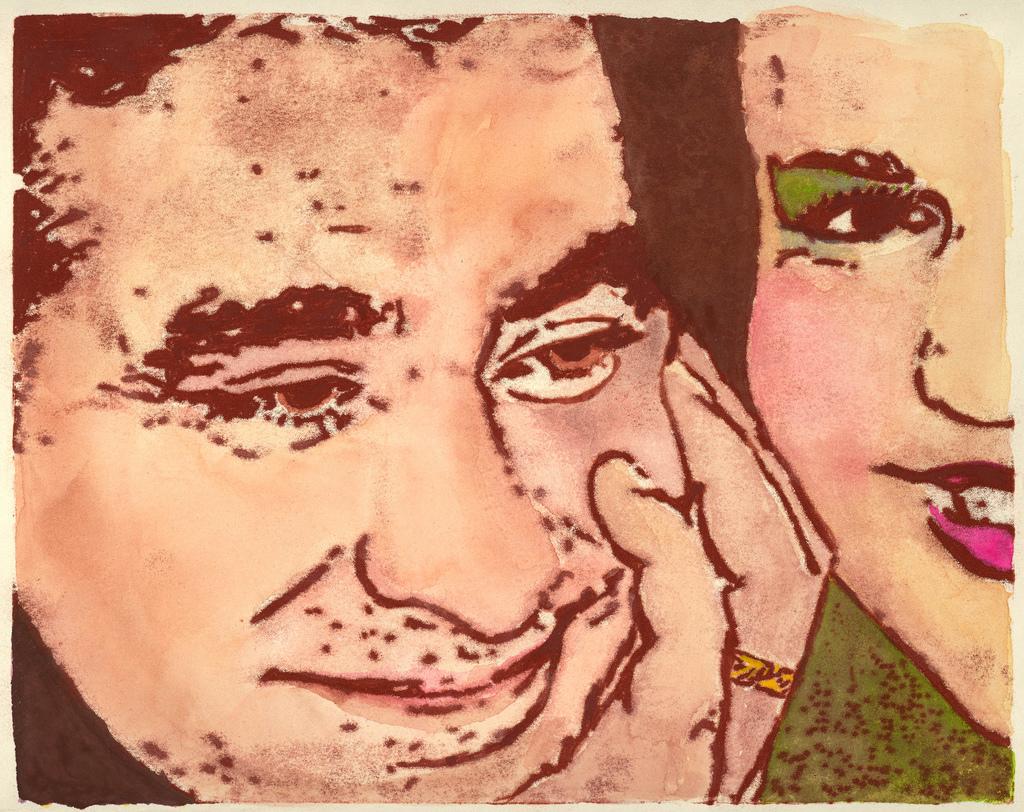 Seb & Alda, monotype with watercolor