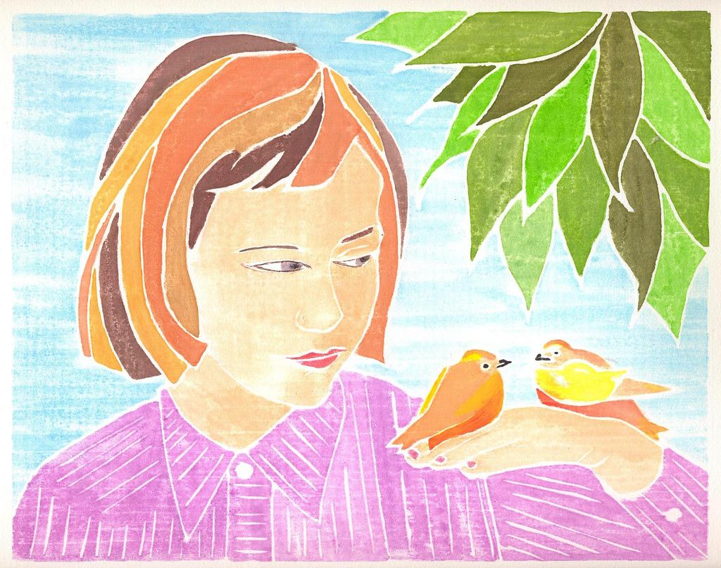 Three Little Birds, whiteline print