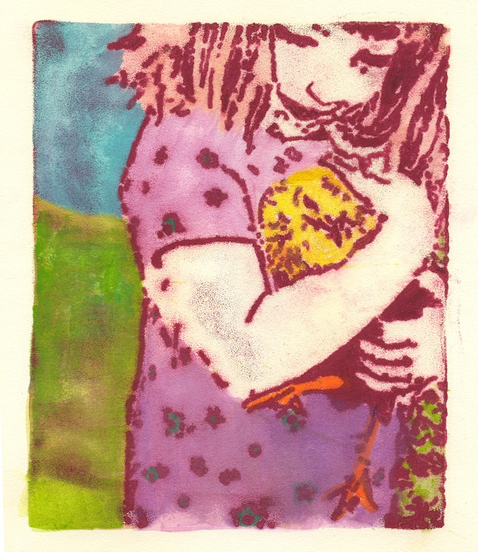 Two Little Chicks, monotype with watercolor