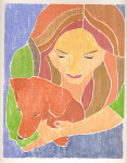 Young Girl with Dachshund, whiteline print
