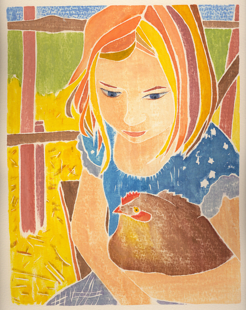 Young Girl with Chicken, whiteline print