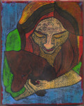 Young Girl with Dachshund, encaustic mixed media